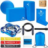 Yoga Set,12 Yoga Accessories, Yoga Blocks 2 Pack with Strap,1 Mini Yoga Ball,3 Resistance Loop Bands,1 Resistance Band,1 Door Anchor,1 Jump Rope,Gym Bag & Manual for Yoga, Pilates, Stretching