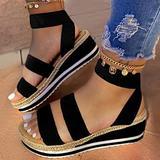 Hwcpadkj Women Open Toe Ankle Strap Flatform Wedge Casual Sandal Roman Color Block Heel Platform Sandals and Slippers,Black,38