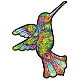 Alabohuke Wooden Jigsaw Puzzles–Unique Shape Pieces Jigsaw Puzzles, Puzzle Animal Jigsaw Wooden Puzzles for Adults - Best for Family Game Play Collection,Hummingbird,M