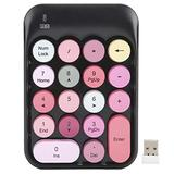 Wireless Numeric Keypad,Wireless Number Pads,2.4G 18 Keys Number Pad, Chocolate Keycap,for Game Direction Switching,for Windows XP/Win7/Win8/Win10,with Receiver(Black)