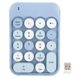 Wireless Numeric Keypad,Wireless Number Pads,2.4G 18 Keys Number Pad, Chocolate Keycap,for Game Direction Switching,for Windows XP/Win7/Win8/Win10,with Receiver(Blue)