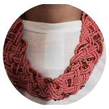 """18"""" Long Braid Coral Seed Bead Red Chunky Gold Multi Strand Bib Collar Necklace"""