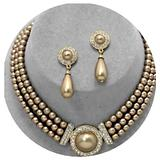 Gold Light Brown Bib Pearl Crystal Multi Layered Bridal Necklace Set Earring