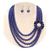 Royal Blue Shiny Statement Pearl Long Multi Layered Bead Necklace Jewelry Set