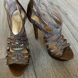 Jessica Simpson Shoes | Jessica Simpson Rhinestone Strappy Platform Heels | Color: Brown | Size: 6.5