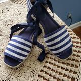 Kate Spade Shoes   Kate Spade Navy Striped Ankle Wrap Sandals   Color: Blue/White   Size: 10