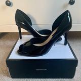 Nine West Shoes | Nine West Patent Leather Peep Toe Heels | Color: Black | Size: 10