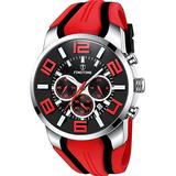 Watches for Men Waterproof Military Watch Sports Analog Wrist Watch Stopwatch Chronograph for Fitness Fashion Large Watches High End Red