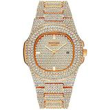 Large Face Unisex Watch Crystal Diamond Watches Big Face Women's Men's Quartz Watch Gold Color Silver Color Rose Gold Color Stainless Steel Wrist Watch (Rose Gold)