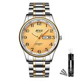 BOSCK Mens Analog Watch,Stainless Steel Waterproof Fashion Wrist Watch for Men,Auto Date and Day Watch (Gold-Gold)