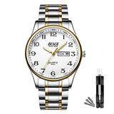 BOSCK Mens Analog Watch,Stainless Steel Waterproof Fashion Wrist Watch for Men,Auto Date and Day Watch (Gold-Silver)