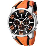 Watches for Men Waterproof Military Watch Sports Analog Wrist Watch Stopwatch Chronograph for Fitness Fashion Large Watches High End Orange