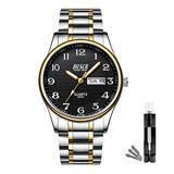 BOSCK Mens Analog Watch,Stainless Steel Waterproof Fashion Wrist Watch for Men,Auto Date and Day Watch (Gold-Black)