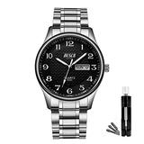 BOSCK Mens Analog Watch,Stainless Steel Waterproof Fashion Wrist Watch for Men,Auto Date and Day Watch (Silver-Black)