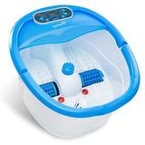 Ivation Foot Spa Massager - Heated Bath, Automatic Massage Rollers, Vibration, Bubbles, Digital Adjustable Temperature Control in Blue/White Wayfair