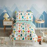 Uozzi Bedding 4 Pieces Toddler Bedding Set Fox Wild Print White Cute Includes Toddler Size Comforter, Flat Sheet, Fitted Sheet and Pillowcase