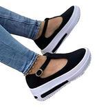 VELIHOME 2021 Spring Retro Round Head Loafers,Women's T Strap Platform Low Heel School Uniform Dress Shoes Low Upper Wedge Heel Shoes Buckle Design Walking Shoe for Women