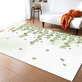 Indoor Contemporary Area Rug Non-Slip Floor Mat, Rural Watercolor Eucalyptus Leaves Plant Rugs, Modern Cozy Area Rug Home Carpet for Living Room Entryway Bedroom, 5' x 8'