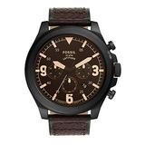 Fossil Latitude Chronograph Leather Watch - FS5751 Brown One Size