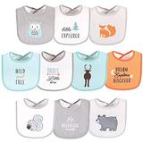 Hudson Baby Unisex Baby Cotton Terry Drooler Bibs with Fiber Filling, Neutral Woodland, One Size