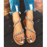 ROSY Women's Sandals White - White Rhinestone Strappy Sandal - Women