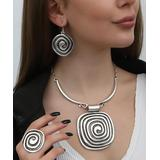 YUSHI Women's Earrings SILVER - Silver-Plated Spiral Pendant Necklace & Drop Earrings Set