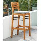 VIFAH Patio Barstools Natural - Natural Gloucester Contemporary Patio Wood Bar Chair