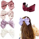 Big Bow Hair Clip Satin Barrette Hairpin, Solid Color Ponytail Hair Accessories, Satin Hair Barrettes Metal Hair Pins for Women Girls for Party Wedding Daily Wear (A)
