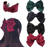 Big Bow Hair Clip Satin Barrette Hairpin, Solid Color Ponytail Hair Accessories, Satin Hair Barrettes Metal Hair Pins for Women Girls for Party Wedding Daily Wear (B)