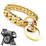 UTOPIAY Dog Choke Collar with Big Ring, 32mm Stainless Steel Hip Hop 316L Choker Cuban Curb Link Necklace Training Collar Dog Chain Collar for Bully Pitbull, Mastiff, Big Breeds,Gold,45cm