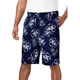 Men's Big & Tall Hibiscus Print Swim Trunks by KS Island in Navy (Size 7XL)