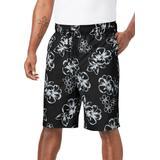 Men's Big & Tall Hibiscus Print Swim Trunks by KS Island in Black (Size XL)