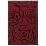 Milan Red/Black 5'X8' Area Rug by Linon Home Dcor in Red Black
