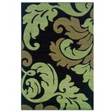 Corfu Black/Green 2'x3' Area Rug by Linon Home Dcor in Black