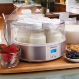Euro Cuisine Electric Digital Automatic Yogurt Maker with 7 Glass Jars by Euro Cuisine in White