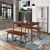 Branson Table & 2 Benches by 4D Concepts in Walnut