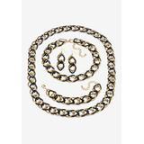 Plus Size Women's 3-Piece Black Ruthenium-Plated Link Set by PalmBeach Jewelry in Black