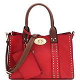 Twist Lock Studded 3 in 1 Soft Structure Plain & Ostrich Vegan Leather Tote Purse Handbag with Crossbody SET (Plain Vegan Leather - Red3/Coffee)
