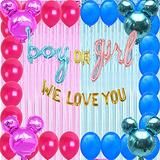 Minnie And Mickey Mouse Gender Reveal Party supplies Decoration boy or girl/Baby Shower balloons pink and blue/Metallic Tinsel Foil Fringe Curtains Photo Backdrop