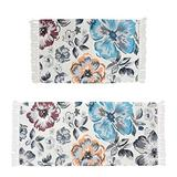 Lacomfy Cotton Area Rug 2 Piece Throw Chindic Rag Rug Runner Colorful Flowel Design Decorative Floral Rugs for Entryway Indoor Bathroom Bedroom Living Room Laundry Room