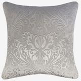 Embossed Panne Velvet Decorative Pillow by Levinsohn Textiles in Silver Gray