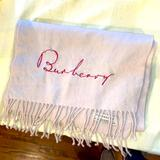 Burberry Accessories | 100% Cashmere Burberry Scarf Hand Embroidered | Color: Cream | Size: Os