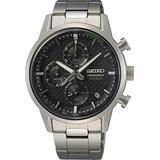 Seiko Chronograph Quartz Black Dial Men's Watch SSB389