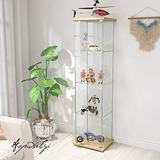 64'' Contemporary 4-Shelf Case Glass Display Cabinet in Clear with Door, Floor Standing Curio Bookshelf for Living Room Bedroom Office (Wood Color)