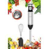 A-KISSEE Multi-Speed Corded Immersion Hand Blender,Stainless Steel Stick Blender with BPA-Free Food Chopper,Milk Frother,Egg Whisk,Puree Baby Food,Smoothies,Sauces,and Soups(with egg whisk)