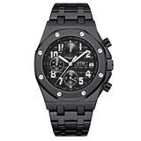 Men's Stainless Steel Analog Chronograph Quartz Watches with Genuine Stainless Steel Band Waterproof Scratch Resistant Stylish Business Wrist Watch for Men with Luminous