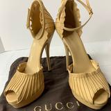 Gucci Shoes   Gucci Peep Toe Ankle Strap Leather Pumps Size 388   Color: Tan   Size: 8