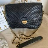 Giani Bernini Bags | Quilted Black Genuine Leather Bag Chain Strap | Color: Black | Size: Os