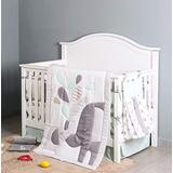 HUPO Jungle Elephant Crib Bedding Sets for Baby Boys and Girls,5 Piece Crib Bedding Set with Blanket/Diaper Bag,Grey/White Crib Set,Unisex Nursey Cot Bedding and Neutral Decoration