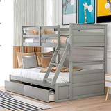 P PURLOVE Twin Over Full Bunk Bed Wood Bunk Bed with Storage Storage Bed Frame,Box Springs Not Need
